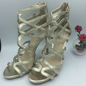Vince Camuto Fantin Sz 8 (M) Gold Strappy Heels
